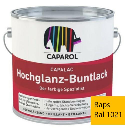 Caparol Capalac Hochglanz-Buntlack 750 ml - Hochwertiger Bautenlack RAL 1021 Rapsgelb